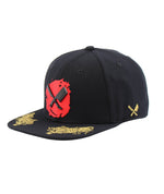 Two Tigers Blades Plate Black, Gold & Red Snapback Cap