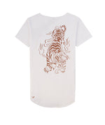 Cutted Neck White & Terracotta Tiger T-Shirt