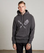 Dragon Blades Ornament Washed Gunmetal Raglan Hoodie