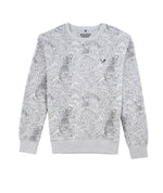 Gray Melange Tigers Allover Crewneck Sweater
