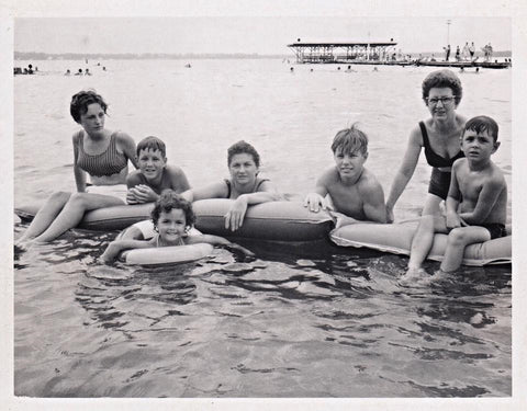 Eden Shell Designer, Charleston artist George Roberts, on the lake with his family.