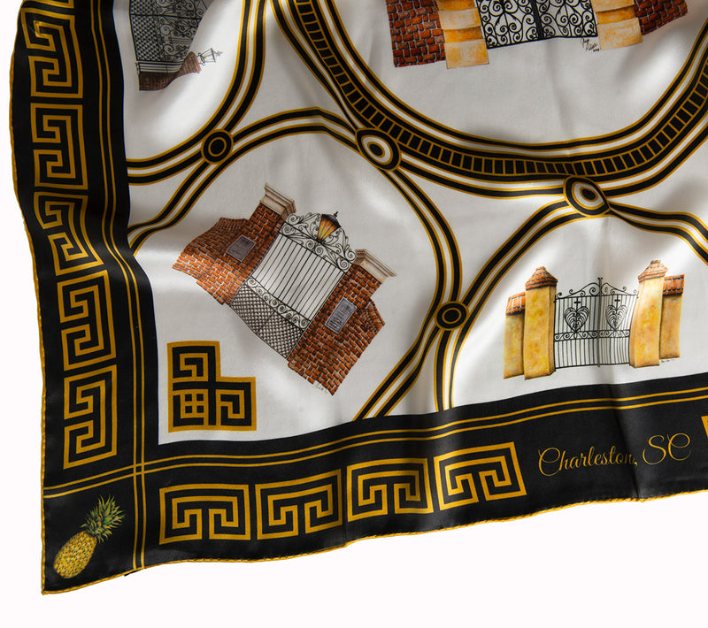 Closeup Shot of Historic Charleston Gates Square Scarf by Eden Shell
