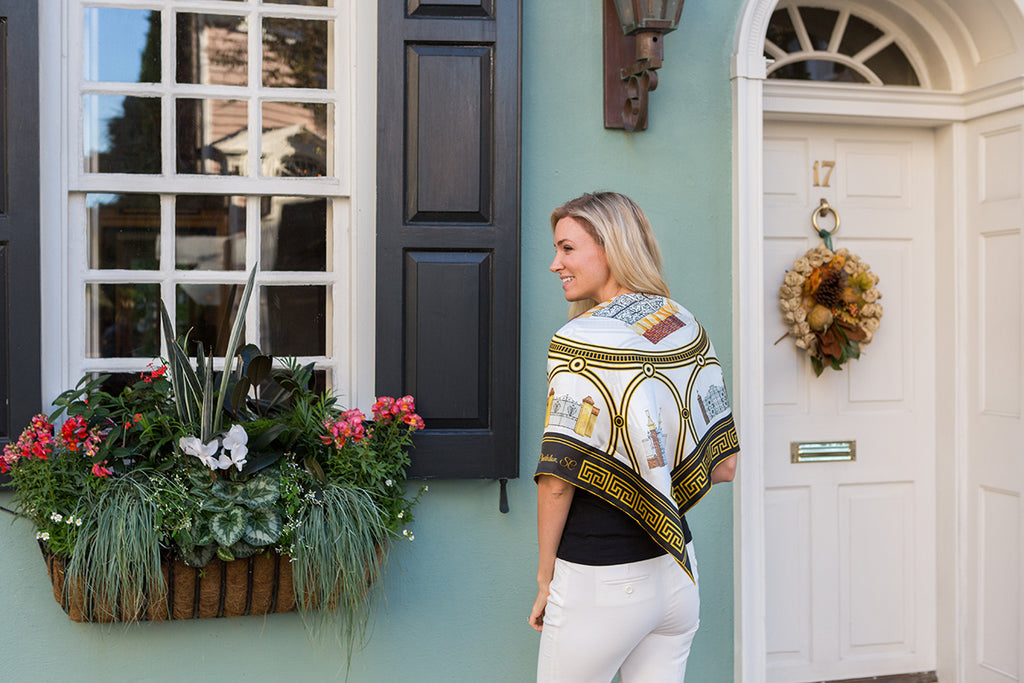 Shot of Historic Charleston Gates Square Scarf on Model by Eden Shell