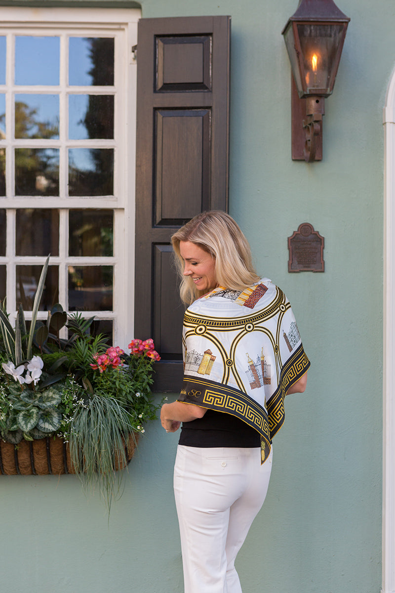 Portrait Shot of Historic Charleston Gates Square Scarf on Model by Eden Shell
