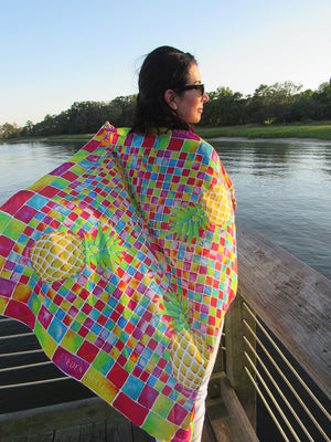 Mosaic Pineapple Square Scarf by Eden Shell on Model