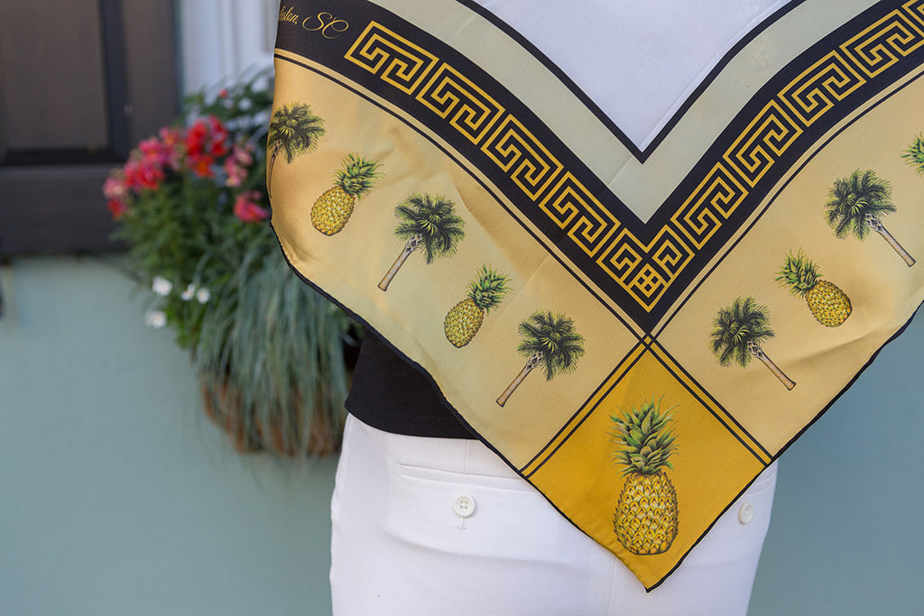 Closeup of Pineapple Scarf by Eden Shell on Model