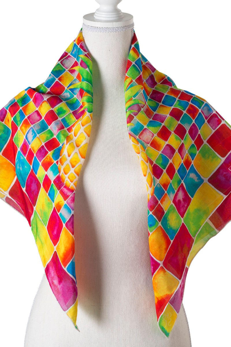 #SS201-Mosaic Pineapple Square Scarf
