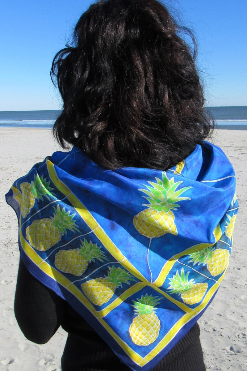 Pineapples in Yellow and Blue Scarf