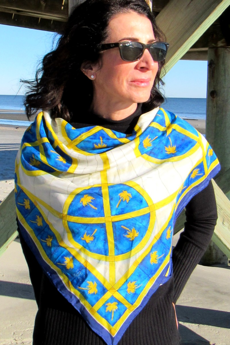 Blue & Gold Palms Scarf
