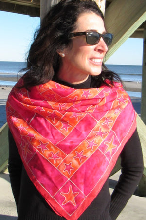 #SS213-Starfish Red and Orange Scarf