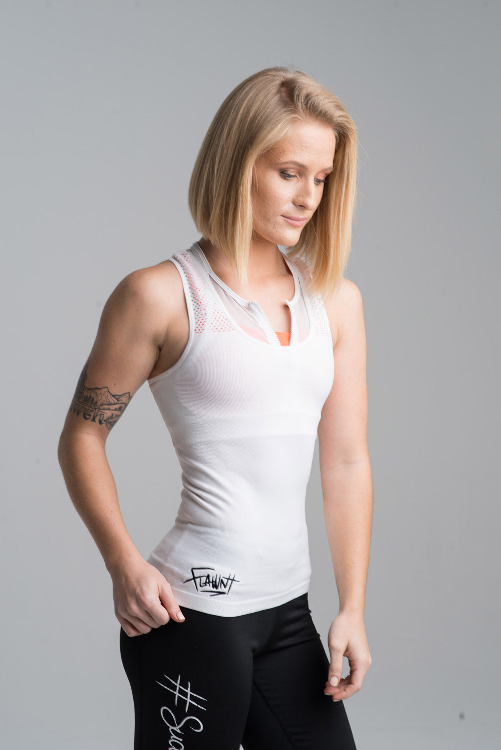 White Flawnt Clothing Mesh Singlet