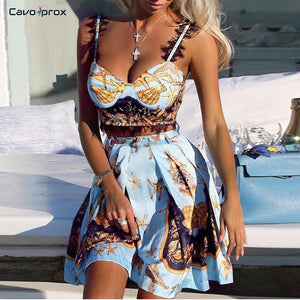 Women Two Piece Lace Insert Print