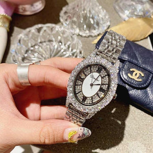 2019 Fashion Luxury Designer Brand Stainless Steel Diamond Women Watches Quartz Oval Shape Waterproof Ladies Watch