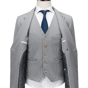 Men's Double Breasted Gray 3 Piece Suits