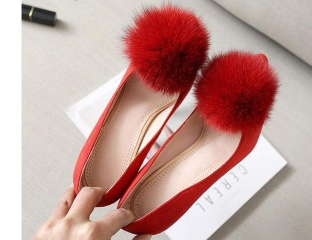 Hair ball pointed end Shallow mouth shoes