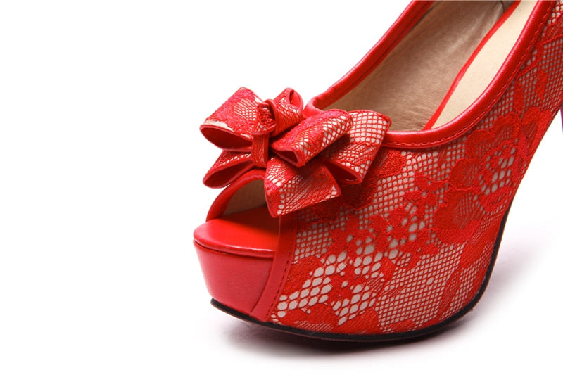 Platform Spring Summer Shoes Woman Red Pumps Fashion High Heels Black Wedding Women Shoes