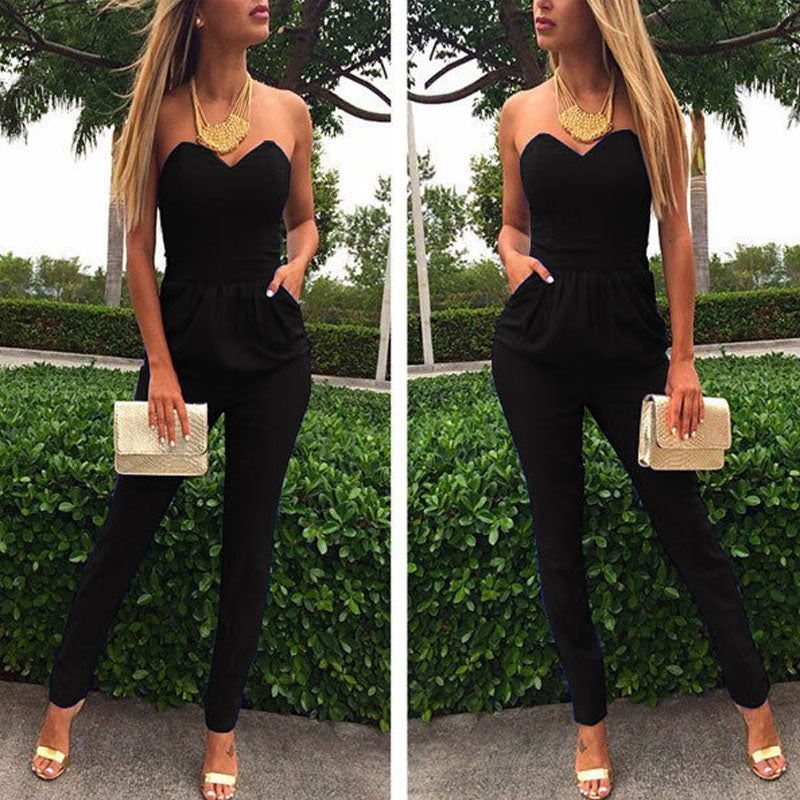 Elegant Strapless Pocket Romper