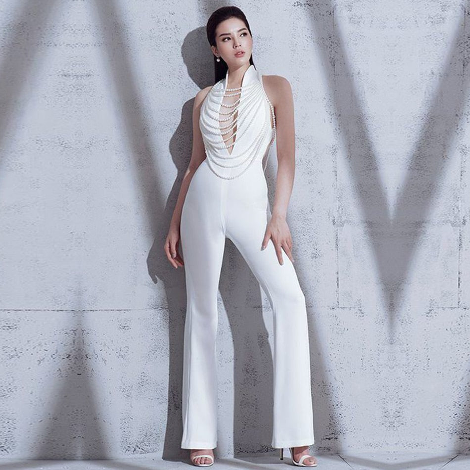 Elegant Beads Backless Halter Jumpsuits Rompers