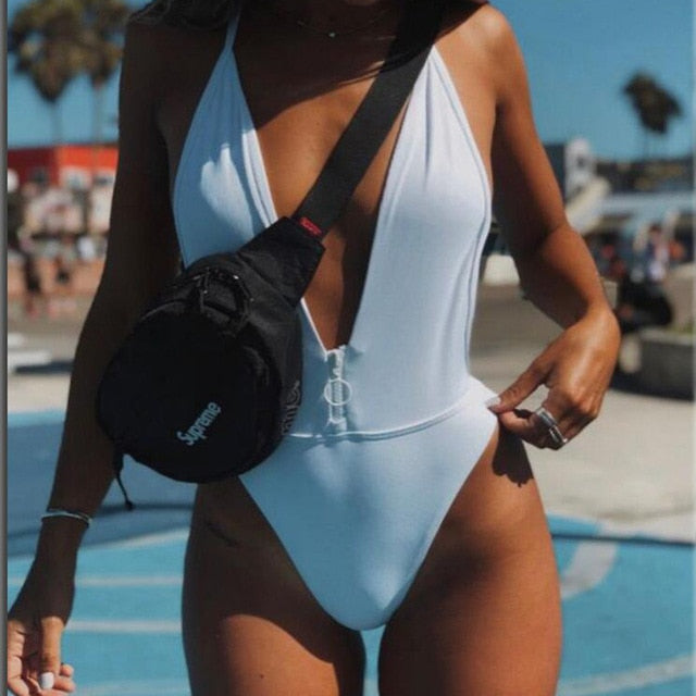 Mesh One Piece Swimwear Deep V Zipper