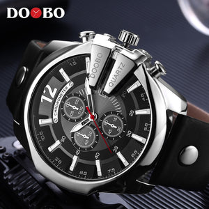 Leather Strap Casual sport Wristwatch With Big Dial