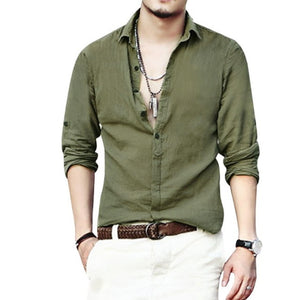 Hawaiian Beach Long Sleeve Linen Shirt