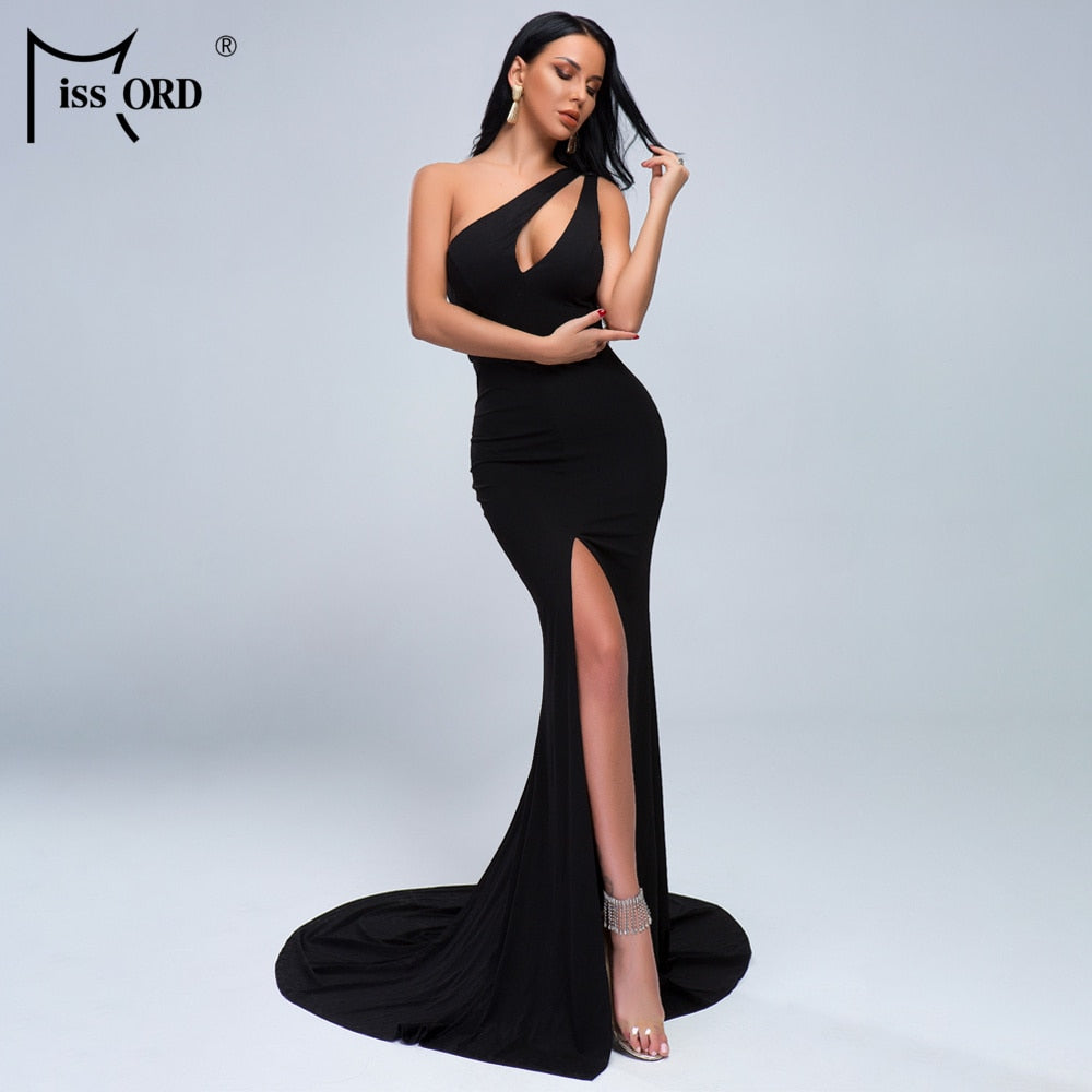 shoudler hole open  chest asymmetric maxi dress