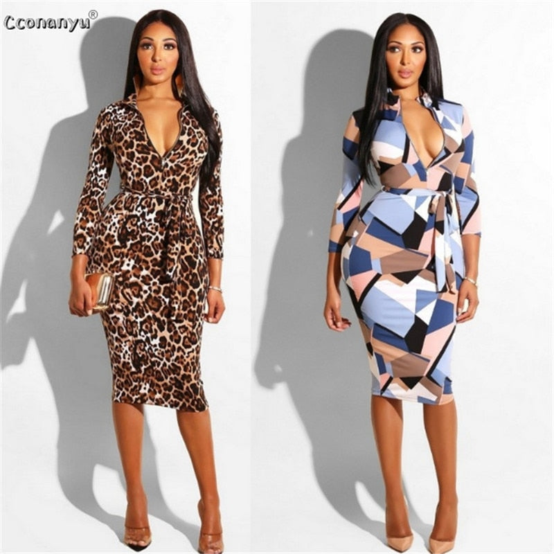 Long Print High Waist Elegant Dresses