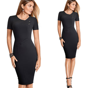 Vintage Brief Pure Color Sheath Dress