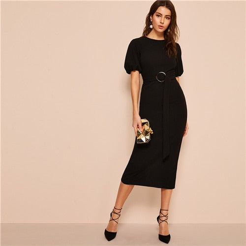 Classy Black Puff Sleeve Buckle Belted Split Back Pencil Dress