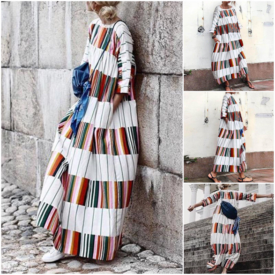 Half Sleeve Stripe Casual Beach Dress