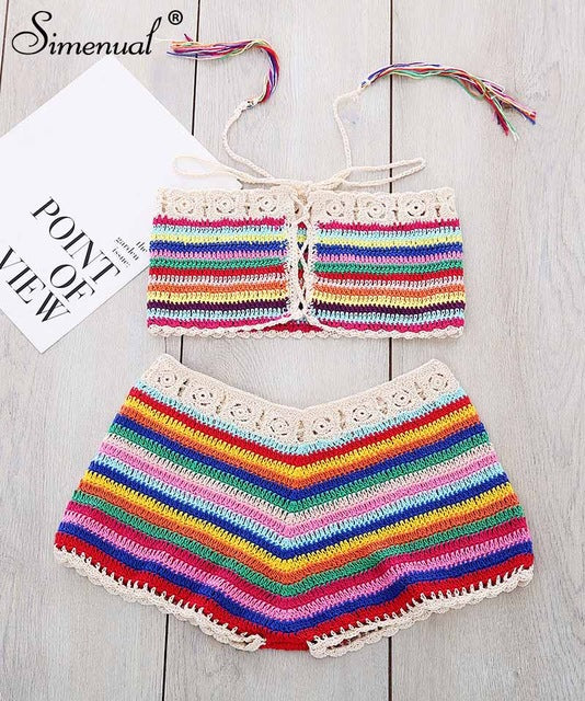 Rainbow Striped Crochet Swimwear