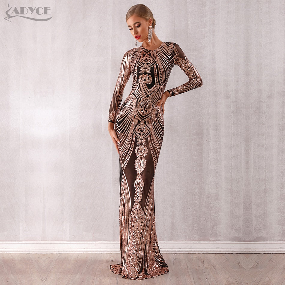 New Arrival Sexy Elegant Sequined Long Sleeve Mesh Runway Dress