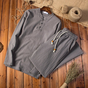 (Shirt + trousers) Cotton and linen