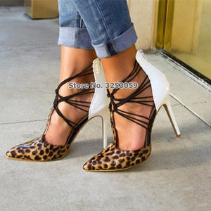 High End Customized Pointed Toe Dress Pumps Leopard Heel Patchwork