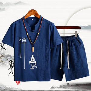 Chinese style Cotton and linen Men Two piece