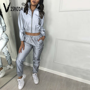 Women Tracksuits 2 Piece Reflective Crop Top