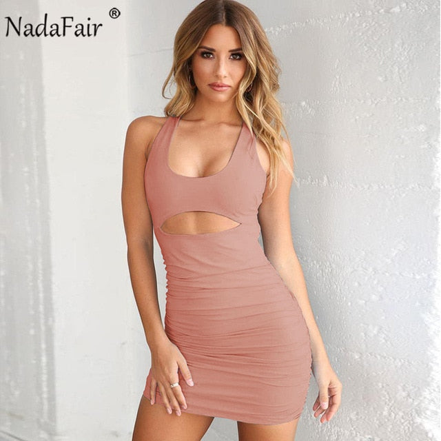 Summer Backless Ruched Bandage Dress