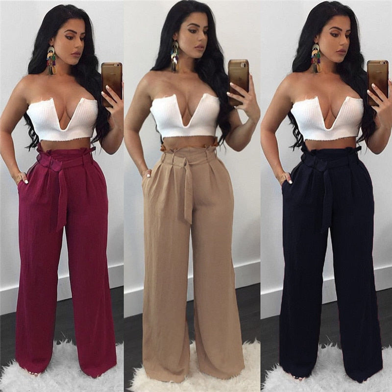 Wide Leg High Waist Ruffle Bow Belt Pants
