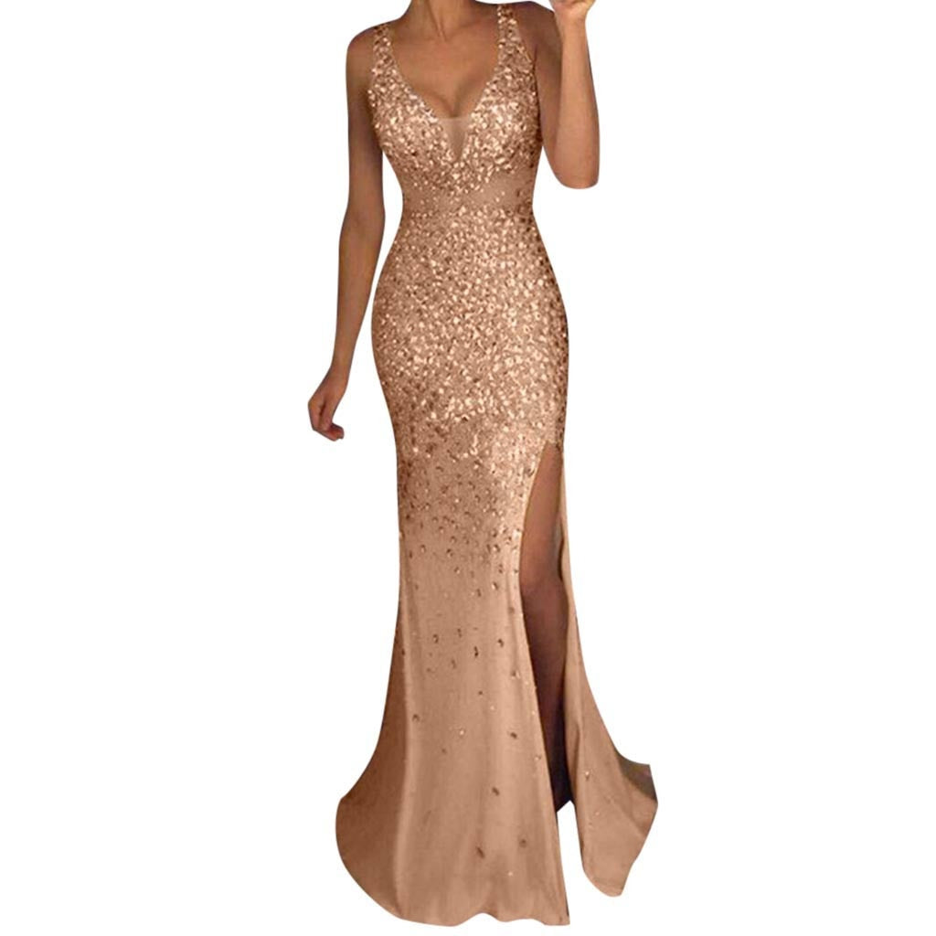 Elegant Glitter Sequin Long Dress