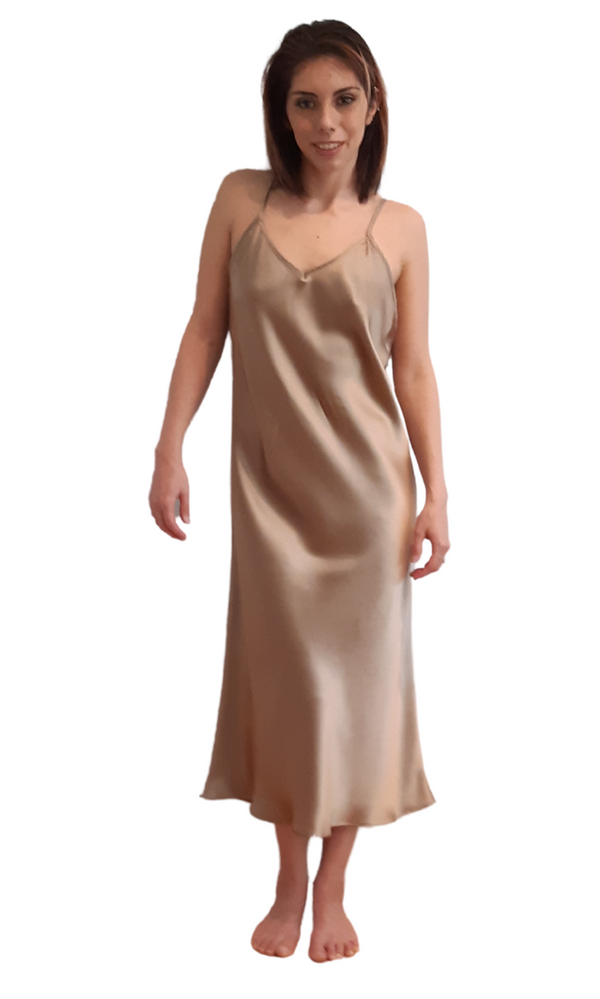 SILK SLIP DRESS - TAUPE