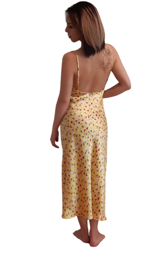 SILK SLIP DRESS - YELLOW ROSE BUDS
