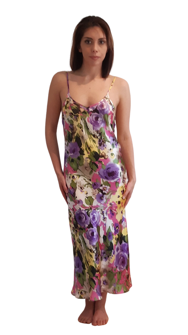 SILK SLIP DRESS - MAUVE & YELLOW
