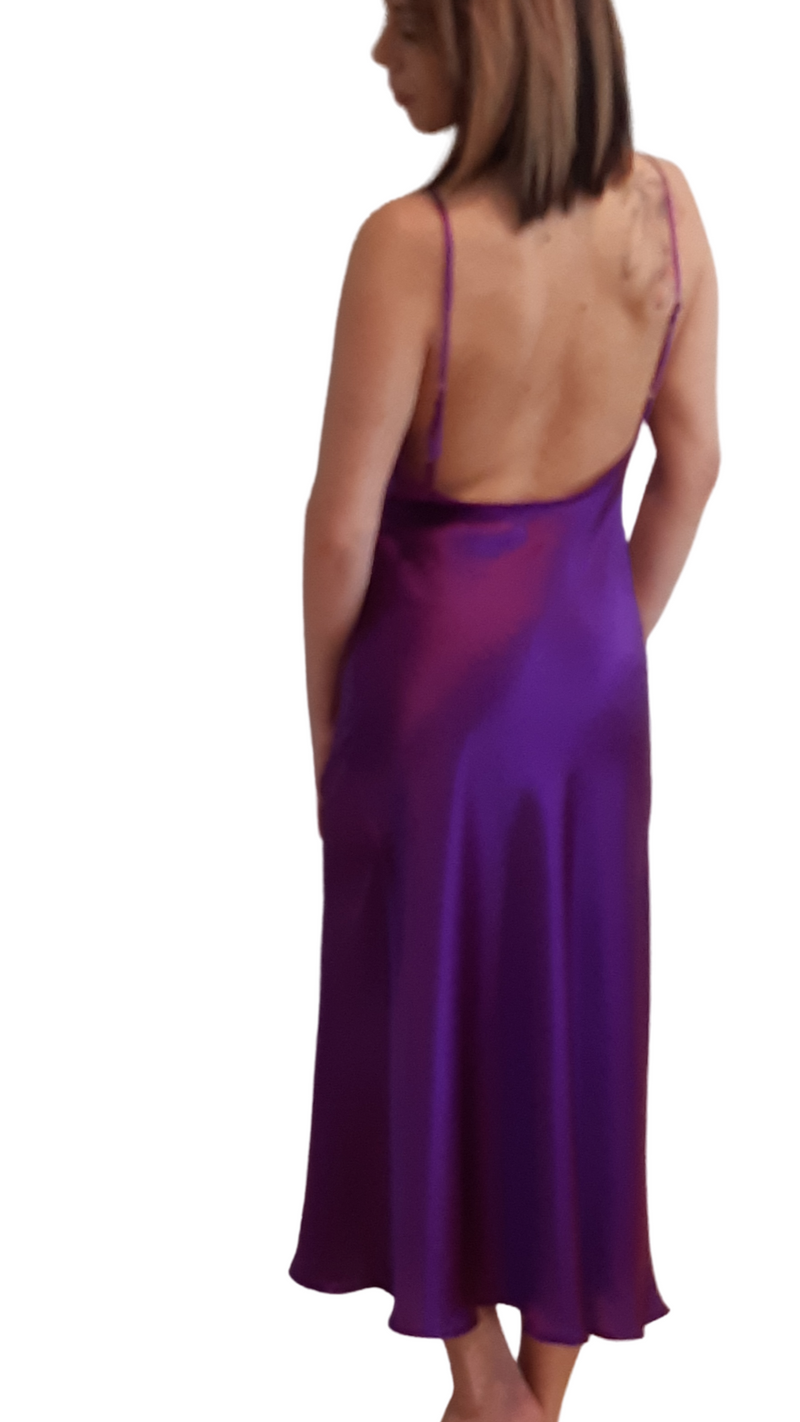 SILK SLIP DRESS - PURPLE