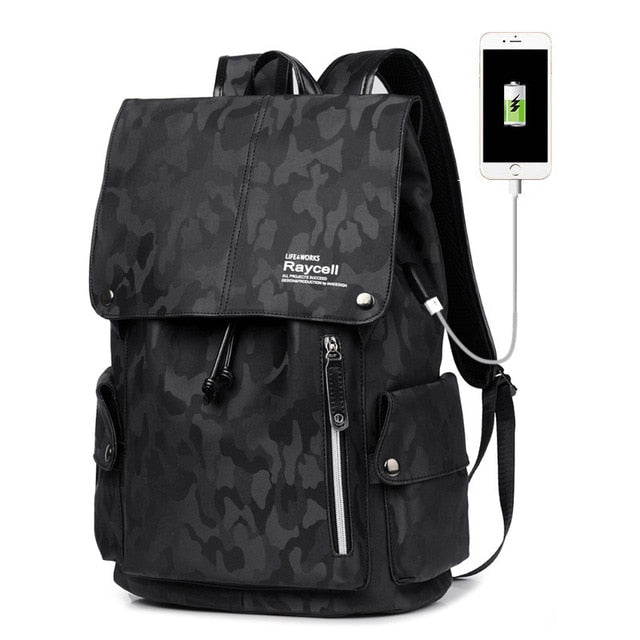 Camouflage Backpack With Usb Port