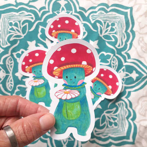 Fungus Friend and daisy  Die Cut Sticker