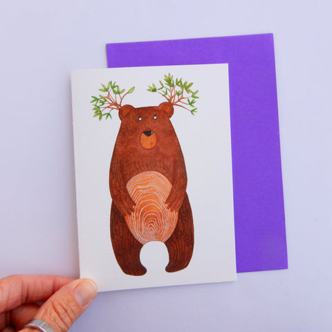 Bear tree greeting card