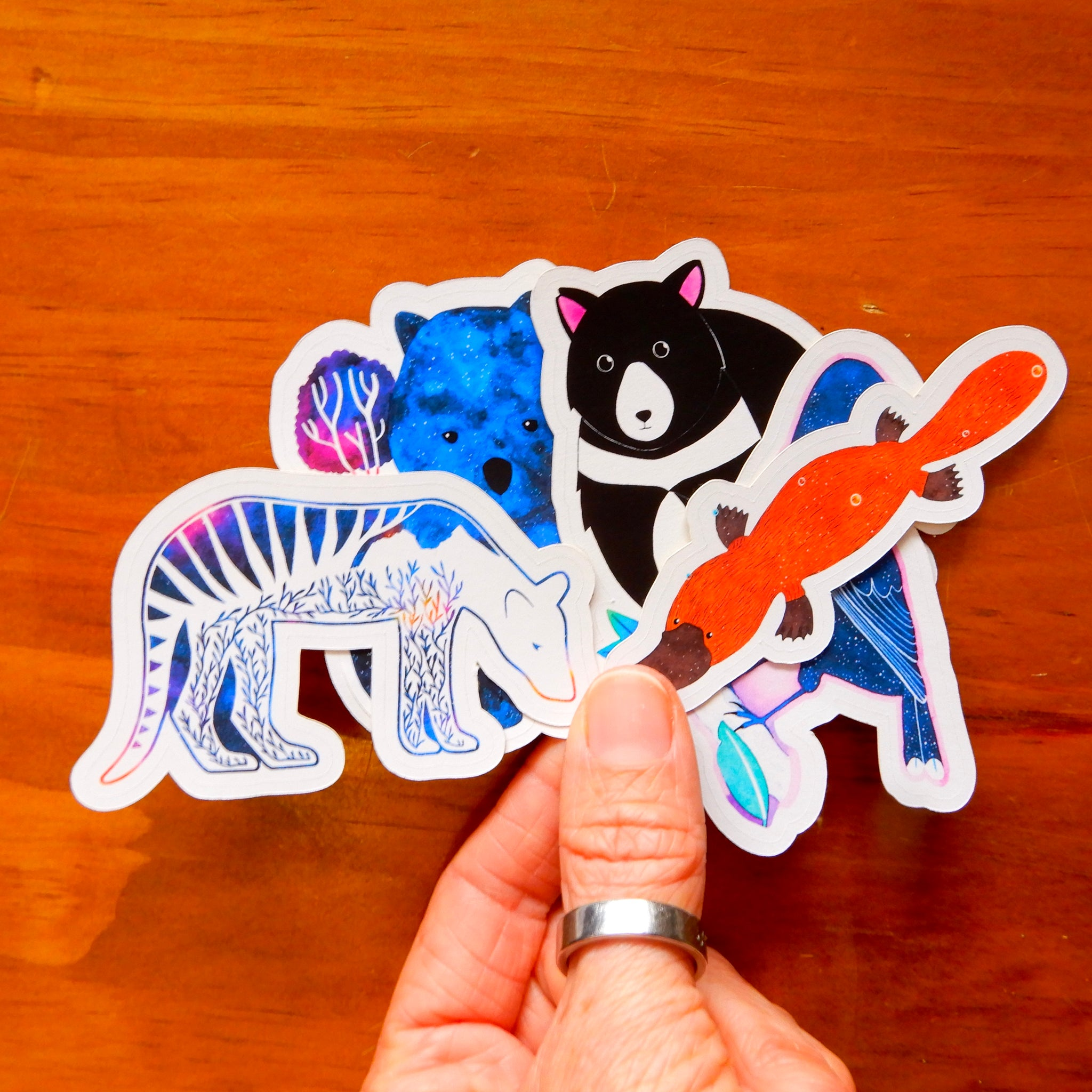 Australian Animal sticker set (platypus, tasmanian tiger, wombat, tasmanian devil, currawong)