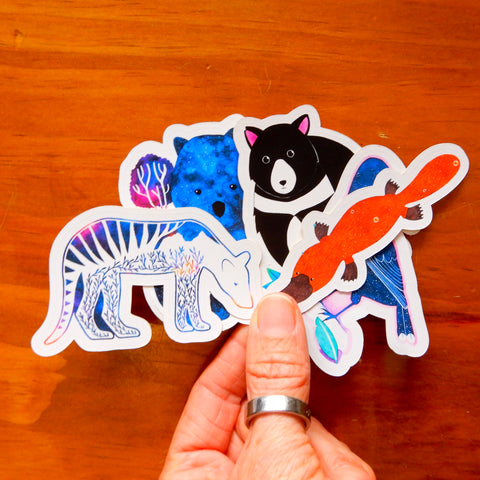 Fantastic Tasmanian Animal sticker set (platypus, tasmanian tiger, wombat, tasmanian devil, currawong)
