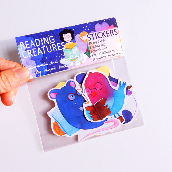 Reading animals sticker set (Yeti, Rat, Bird, Panda)