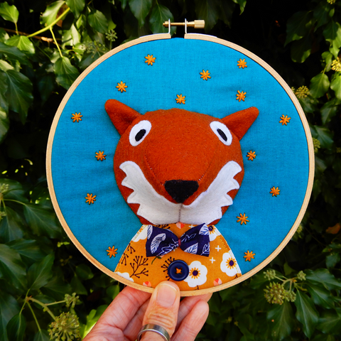 Mr Fox embroidery hoop textile portrait